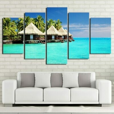 Maldives Islands Beach Palm Tree - 5 Panel Canvas Print Wall Art Set