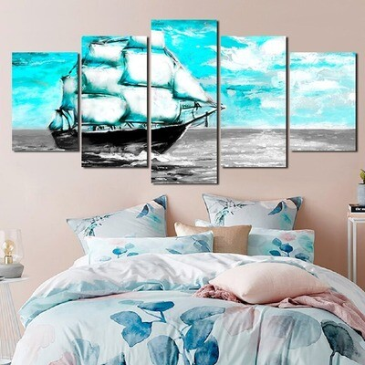 Sea Sailing Boat Blue Sky Scenery - 5 Panel Canvas Print Wall Art Set