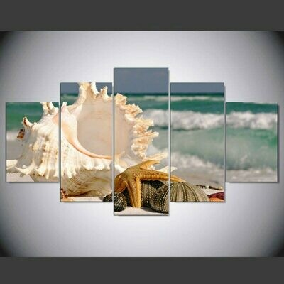 Modern Beach Conch - 5 Panel Canvas Print Wall Art Set