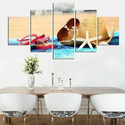 Beach Sun Hat and Sunglasses - 5 Panel Canvas Print Wall Art Set