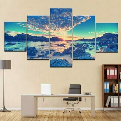 Beach Wave Reef Stones - 5 Panel Canvas Print Wall Art Set