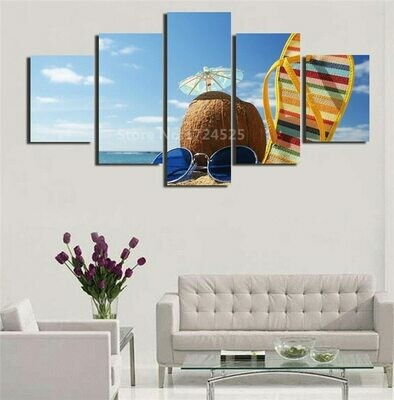 Coconut Summer Beach - 5 Panel Canvas Print Wall Art Set