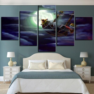 Pirate Boat - Melly Ship- 5 Panel Canvas Print Wall Art Set