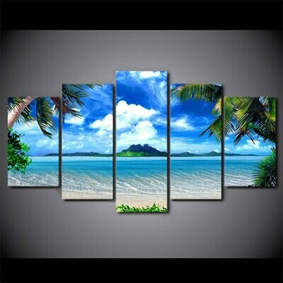 HD Beach Blue Palm Trees - 5 Panel Canvas Print Wall Art Set