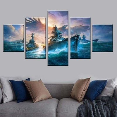 Sea Boat and Eagle - 5 Panel Canvas Print Wall Art Set