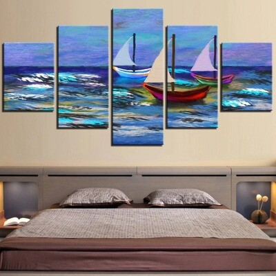 Sea Wallpapers Ocean - 5 Panel Canvas Print Wall Art Set