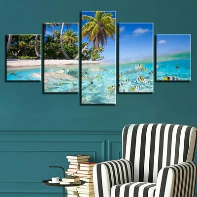 Coconut Trees Beach HD - 5 Panel Canvas Print Wall Art Set