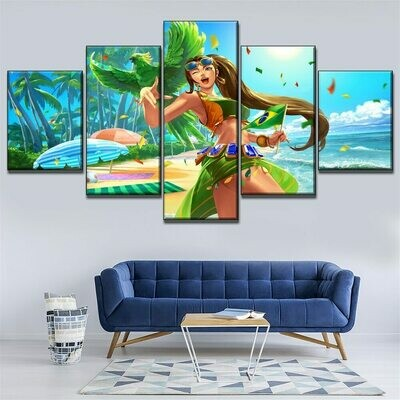 Game Paladins In Summer Beach - 5 Panel Canvas Print Wall Art Set