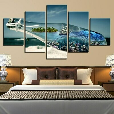 Glass Bottle Sea Wave Beach - 5 Panel Canvas Print Wall Art Set