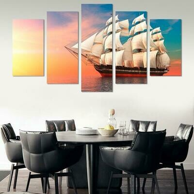 Sailing Boat In Sunset - 5 Panel Canvas Print Wall Art Set