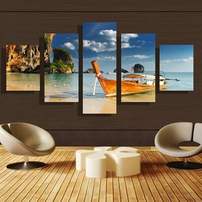 Sandy Beach Gules Boat - 5 Panel Canvas Print Wall Art Set