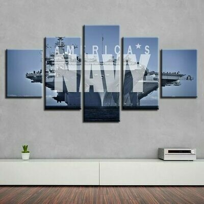 Letters And Boats - 5 Panel Canvas Print Wall Art Set