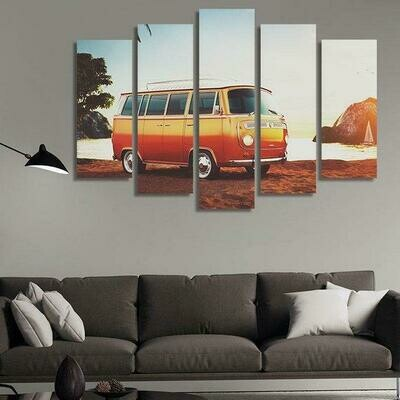 Cars Parked On The Beach - 5 Panel Canvas Print Wall Art Set