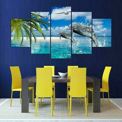 Dolphins And White Sand Beach - 5 Panel Canvas Print Wall Art Set