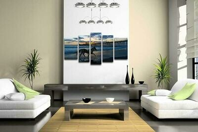 Horse Running On A Beach - 5 Panel Canvas Print Wall Art Set