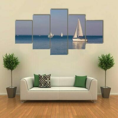 Sunny Day On Lake Balaton With Sailboats - 5 Panel Canvas Print Wall Art Set
