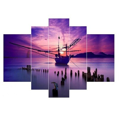 Seaside Sunset Fishing Boat - 5 Panel Canvas Print Wall Art Set