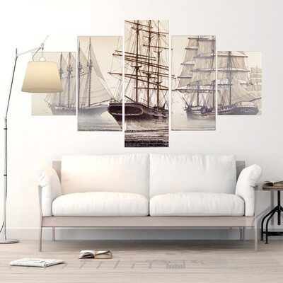 Ship Boat Poster - 5 Panel Canvas Print Wall Art Set