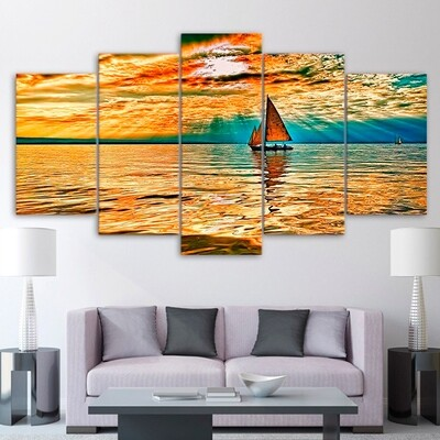 Ship Sunset - 5 Panel Canvas Print Wall Art Set