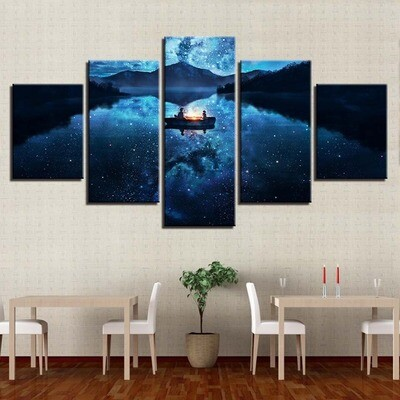Starry Sky Boat In The Lake - 5 Panel Canvas Print Wall Art Set