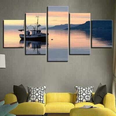 Ship And Mountain Sunrise Seascape - 5 Panel Canvas Print Wall Art Set