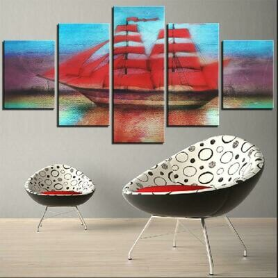 Ship Poster - 5 Panel Canvas Print Wall Art Set