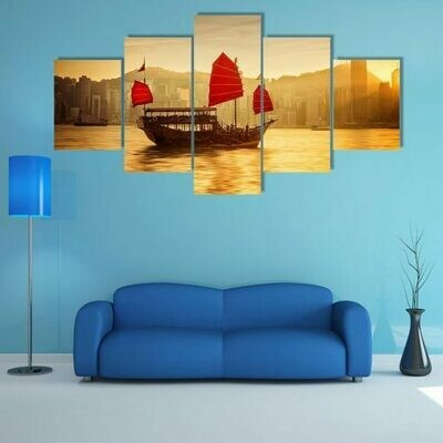 Skyline Of Hong Kong With Cruise Sailboat - 5 Panel Canvas Print Wall Art Set