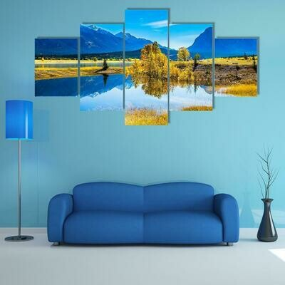 Abraham Lake In Rocky Mountains - 5 Panel Canvas Print Wall Art Set