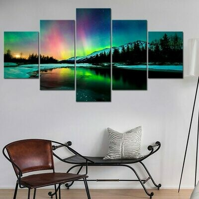 Aurora Borealis Lake Mountain - 5 Panel Canvas Print Wall Art Set