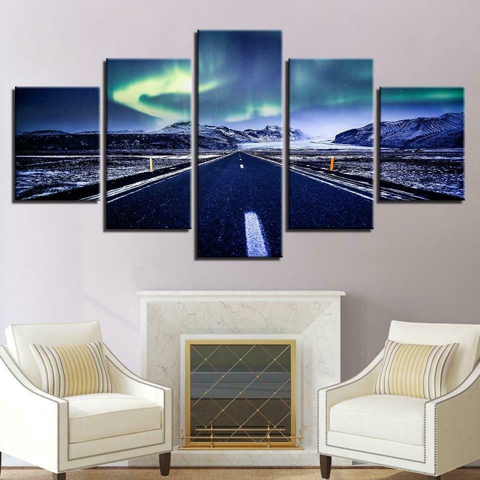 Aurora Mountain Highway - 5 Panel Canvas Print Wall Art Set