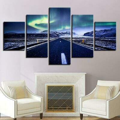 Aurora Mountain Highway - 5 Panel Canvas Print Wall Art Set