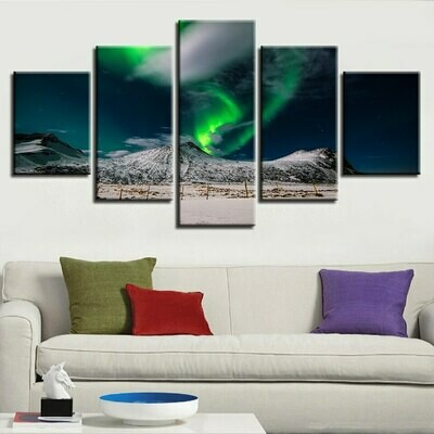 Aurora Mountain Night View - 5 Panel Canvas Print Wall Art Set