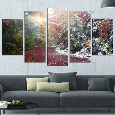 Beautiful  Mountain Sun - 5 Panel Canvas Print Wall Art Set