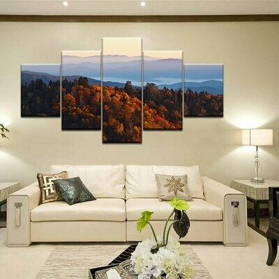 Beautiful Forest Mountain - 5 Panel Canvas Print Wall Art Set