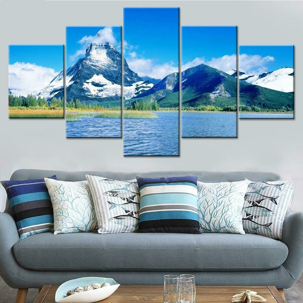 Beautiful Snow Mountain Lake - 5 Panel Canvas Print Wall Art Set