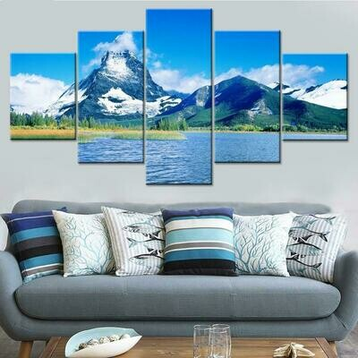 Beautiful Snow Mountain Lake - 5 Panel Canvas Print Wall Art Set