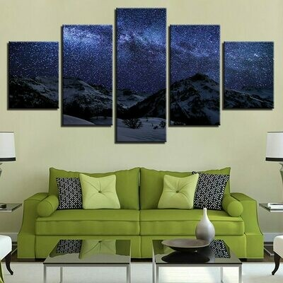 Beautiful Starry Night Mountain - 5 Panel Canvas Print Wall Art Set