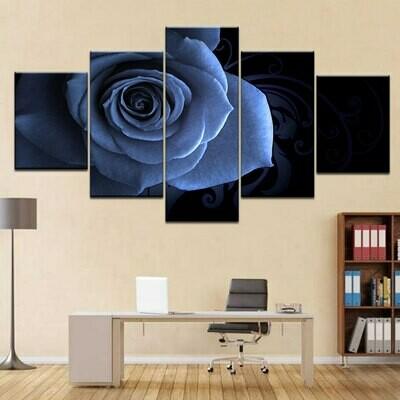 Abstract Blue Rose - 5 Panel Canvas Print Wall Art Set