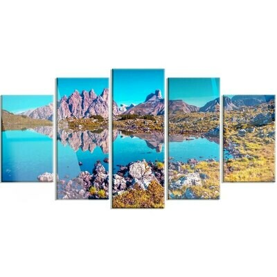 Blue Lake Mountain - 5 Panel Canvas Print Wall Art Set