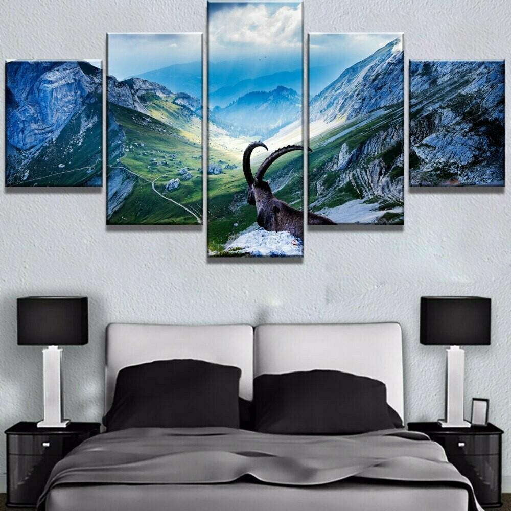 Bicycle Jump Mountain - 5 Panel Canvas Print Wall Art Set