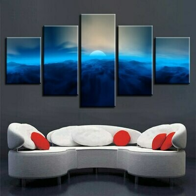 Blue Light Moon Mountain - 5 Panel Canvas Print Wall Art Set