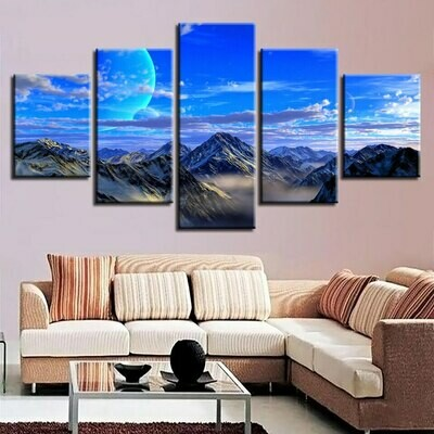 Blue Moon Mountain - 5 Panel Canvas Print Wall Art Set