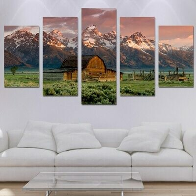 Barn Rocky Mountains Cabin - 5 Panel Canvas Print Wall Art Set