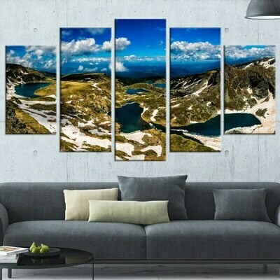 Beautiful Mountain Lake - 5 Panel Canvas Print Wall Art Set