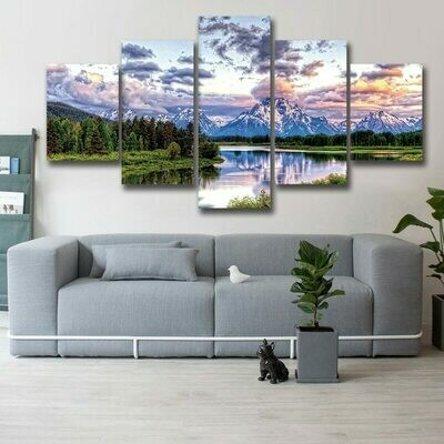 Beautiful Mountains And Rivers - 5 Panel Canvas Print Wall Art Set
