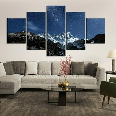 Beautiful Starry Sky Mountain - 5 Panel Canvas Print Wall Art Set