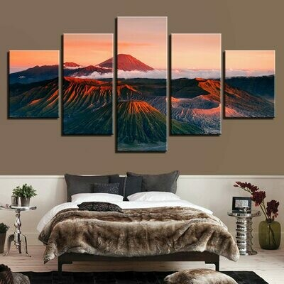 Beautiful Vocano - 5 Panel Canvas Print Wall Art Set
