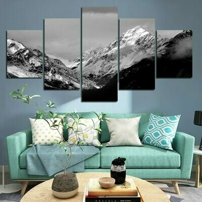 Black And White Snow Mountain - 5 Panel Canvas Print Wall Art Set