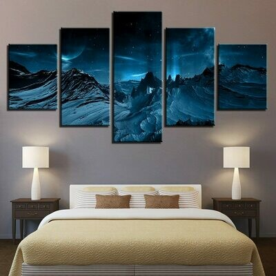 Blue Aurora Borealis Snow Mountain - 5 Panel Canvas Print Wall Art Set