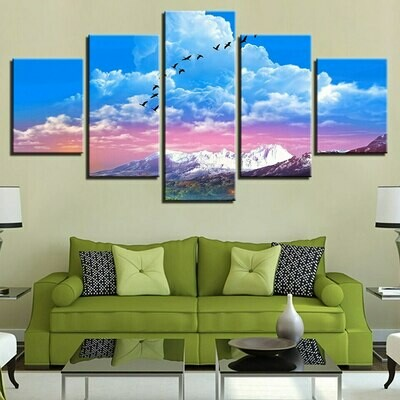 Blue Pink Sky Mountain - 5 Panel Canvas Print Wall Art Set